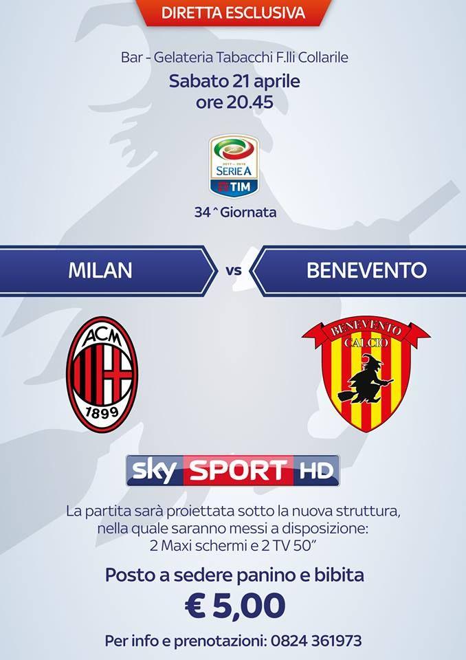 Al Bar Gelateria Tabacchi dei F.lli Collarile  Benevento Calcio contro il AC Milan