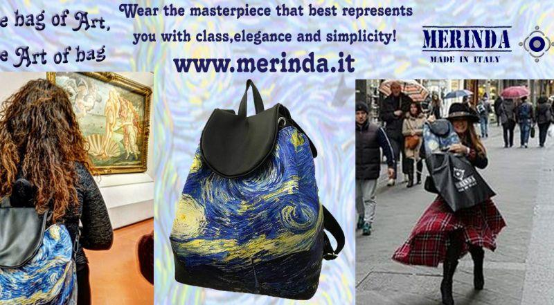 MERINDA - Offer production sale art bags art backpacks made in Italy Van Gogh starry night