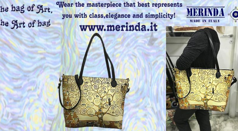 MERINDA - Offer production sale art bags art backpacks made in Italy Klimt tree of life
