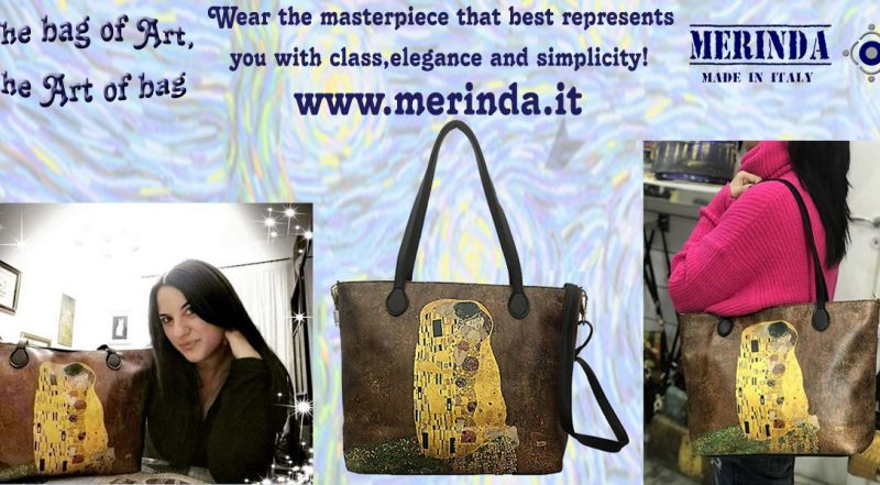 MERINDA - Offer production sale art bags art backpacks made in Italy Klimt the kiss