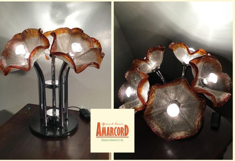 AMARCORD offerta lampada originale ibisco da terra - promozione lampadario anni 70 da tavolo